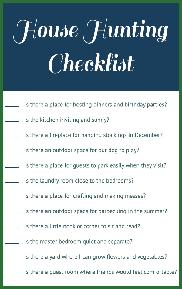 Our house hunting checklist for List of things to do when building a house
